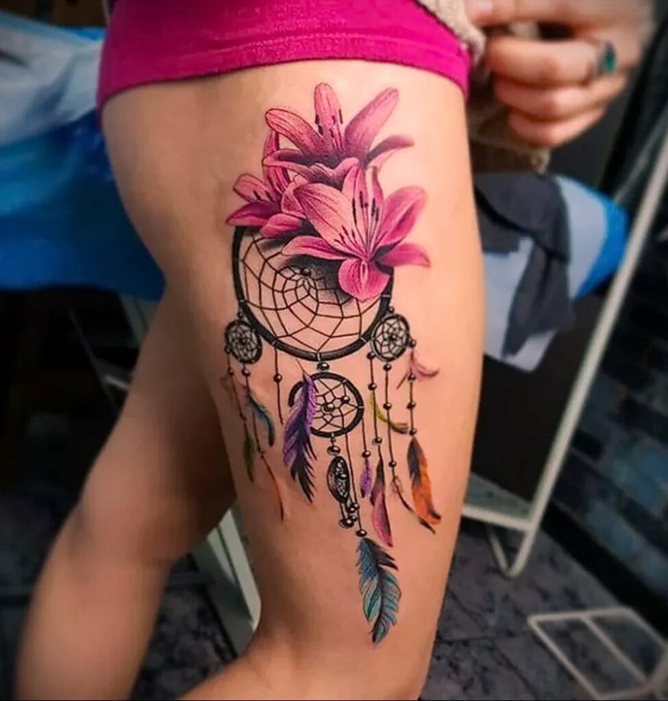 Фото Тату Ловец снов у девушки 27.02.2021 №004 - Dream catcher tattoo - tatufoto.com