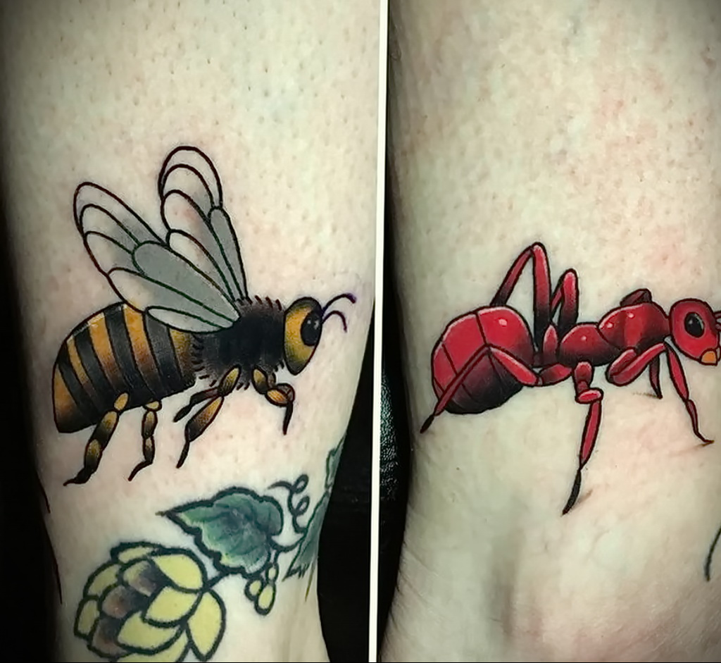 Фото пример рисунка татуировки с муравьем 21.03.2021 №059 - ant tattoo - tatufoto.com