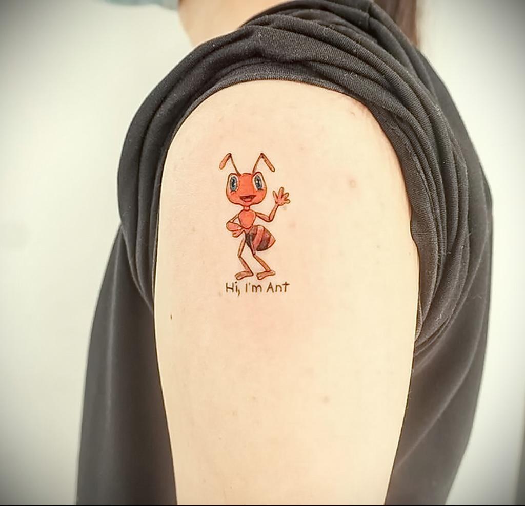 Фото пример рисунка татуировки с муравьем 21.03.2021 №097 - ant tattoo - tatufoto.com