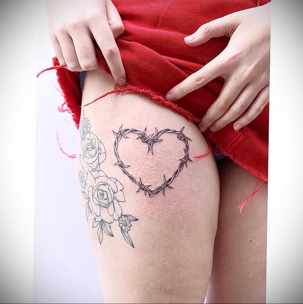 Фото тату сердце и колючая проволока 09.02.2021 №0021 - tattoo heart wire - tatufoto.com