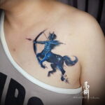 Фото тату стрелец на груди 02.02.2021 №0007 - Sagittarius chest tattoo - tatufoto.com