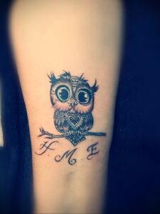 маленькая тату с совой на фото 15.02.2021 №0030 - little owl tattoo- tatufoto.com