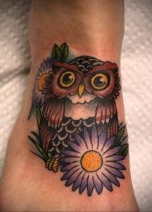 маленькая тату с совой на фото 15.02.2021 №0038 - little owl tattoo- tatufoto.com