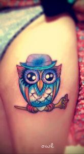 маленькая тату с совой на фото 15.02.2021 №0045 - little owl tattoo- tatufoto.com