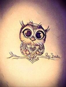 маленькая тату с совой на фото 15.02.2021 №0060 - little owl tattoo- tatufoto.com