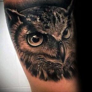 мужской рисунок тату с совой пример 15.02.2021 №0002 - owl tattoo men - tatufoto.com