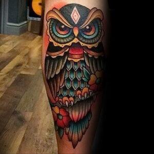 мужской рисунок тату с совой пример 15.02.2021 №0014 - owl tattoo men - tatufoto.com
