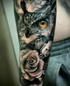 мужской рисунок тату с совой пример 15.02.2021 №0016 - owl tattoo men - tatufoto.com
