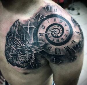мужской рисунок тату с совой пример 15.02.2021 №0070 - owl tattoo men - tatufoto.com