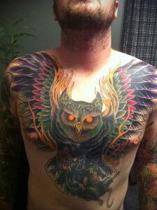 мужской рисунок тату с совой пример 15.02.2021 №0072 - owl tattoo men - tatufoto.com