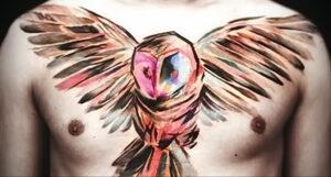 мужской рисунок тату с совой пример 15.02.2021 №0076 - owl tattoo men - tatufoto.com