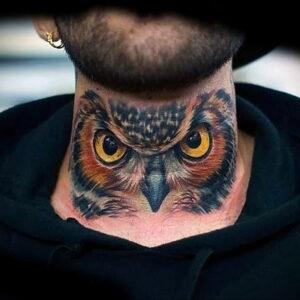 мужской рисунок тату с совой пример 15.02.2021 №0080 - owl tattoo men - tatufoto.com