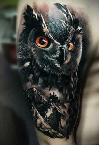 мужской рисунок тату с совой пример 15.02.2021 №0082 - owl tattoo men - tatufoto.com