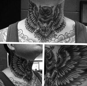 мужской рисунок тату с совой пример 15.02.2021 №0097 - owl tattoo men - tatufoto.com
