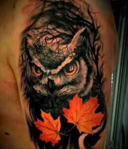 мужской рисунок тату с совой пример 15.02.2021 №0111 - owl tattoo men - tatufoto.com