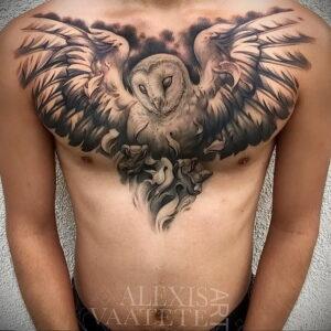 мужской рисунок тату с совой пример 15.02.2021 №0118 - owl tattoo men - tatufoto.com