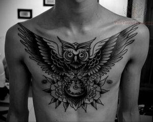мужской рисунок тату с совой пример 15.02.2021 №0129 - owl tattoo men - tatufoto.com