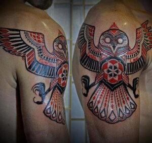 мужской рисунок тату с совой пример 15.02.2021 №0144 - owl tattoo men - tatufoto.com