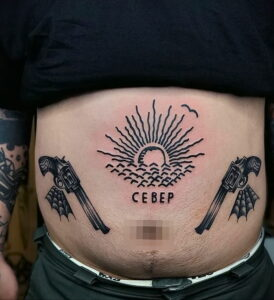 пример рисунка тату револьвер на фото 16.02.2021 №0022 - tattoo revolver - tatufoto.com