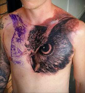 пример рисунка тату сова на груди 15.02.2021 №0008 - owl tattoo on chest - tatufoto.com