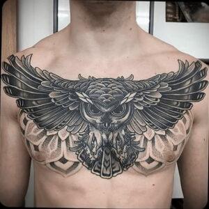пример рисунка тату сова на груди 15.02.2021 №0014 - owl tattoo on chest - tatufoto.com