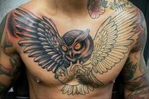 пример рисунка тату сова на груди 15.02.2021 №0033 - owl tattoo on chest - tatufoto.com