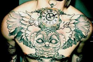 пример рисунка тату сова на груди 15.02.2021 №0036 - owl tattoo on chest - tatufoto.com