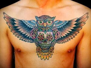 пример рисунка тату сова на груди 15.02.2021 №0037 - owl tattoo on chest - tatufoto.com