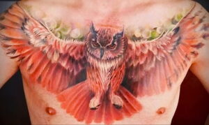 пример рисунка тату сова на груди 15.02.2021 №0076 - owl tattoo on chest - tatufoto.com