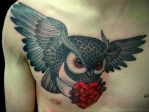 пример рисунка тату сова на груди 15.02.2021 №0078 - owl tattoo on chest - tatufoto.com