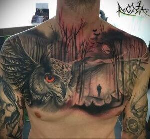 пример рисунка тату сова на груди 15.02.2021 №0084 - owl tattoo on chest - tatufoto.com