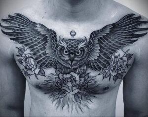 пример рисунка тату сова на груди 15.02.2021 №0085 - owl tattoo on chest - tatufoto.com
