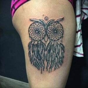 пример рисунка тату сова на ноге 15.02.2021 №0001 - owl tattoo on leg - tatufoto.com