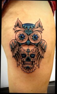 пример рисунка тату сова на ноге 15.02.2021 №0011 - owl tattoo on leg - tatufoto.com
