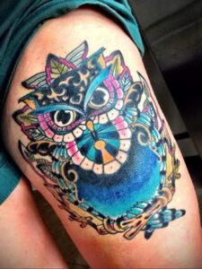 пример рисунка тату сова на ноге 15.02.2021 №0017 - owl tattoo on leg - tatufoto.com