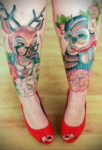 пример рисунка тату сова на ноге 15.02.2021 №0029 - owl tattoo on leg - tatufoto.com