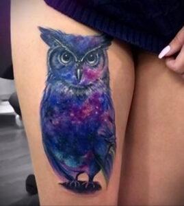 пример рисунка тату сова на ноге 15.02.2021 №0035 - owl tattoo on leg - tatufoto.com