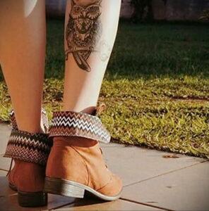 пример рисунка тату сова на ноге 15.02.2021 №0038 - owl tattoo on leg - tatufoto.com
