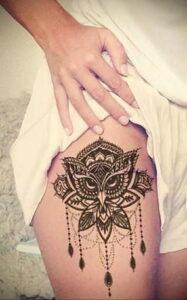 пример рисунка тату сова на ноге 15.02.2021 №0041 - owl tattoo on leg - tatufoto.com