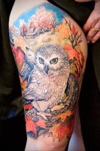 пример рисунка тату сова на ноге 15.02.2021 №0045 - owl tattoo on leg - tatufoto.com