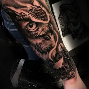 пример рисунка тату сова на руке 15.02.2021 №0003 - owl tattoo on arm - tatufoto.com