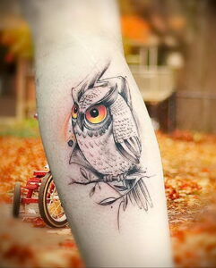 пример рисунка тату сова на руке 15.02.2021 №0014 - owl tattoo on arm - tatufoto.com