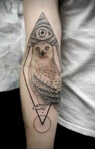 пример рисунка тату сова на руке 15.02.2021 №0018 - owl tattoo on arm - tatufoto.com