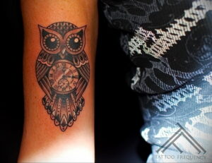 пример рисунка тату сова на руке 15.02.2021 №0027 - owl tattoo on arm - tatufoto.com