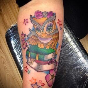 пример рисунка тату сова на руке 15.02.2021 №0037 - owl tattoo on arm - tatufoto.com