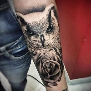 пример рисунка тату сова на руке 15.02.2021 №0038 - owl tattoo on arm - tatufoto.com