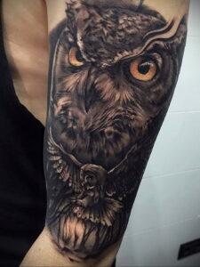 пример рисунка тату сова на руке 15.02.2021 №0040 - owl tattoo on arm - tatufoto.com