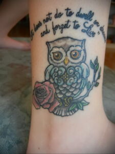 пример рисунка тату сова на руке 15.02.2021 №0048 - owl tattoo on arm - tatufoto.com