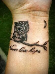 пример рисунка тату сова на руке 15.02.2021 №0049 - owl tattoo on arm - tatufoto.com