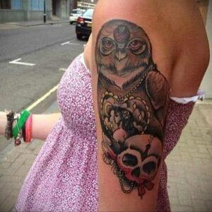 пример рисунка тату сова на руке 15.02.2021 №0059 - owl tattoo on arm - tatufoto.com